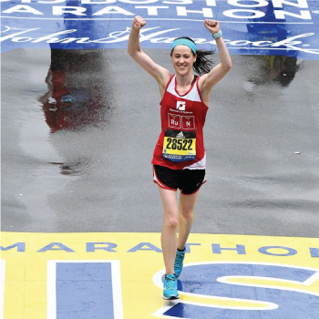 Photo of a Boston Marathon runner for the Museum of Science team running at the Boston Marathon.