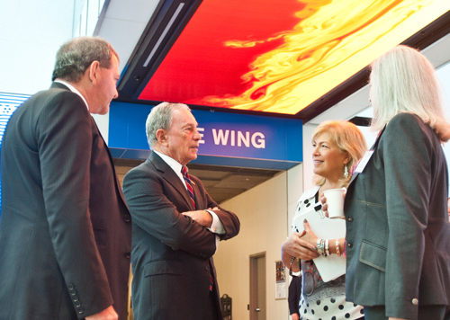 (l-r) Ioannis Miaouls, Michael Bloomberg, Ellie Starr, and Gwill York