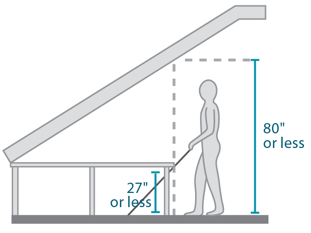 Illustration showing a cane detectable object in a space with head clearance under eighty inches.