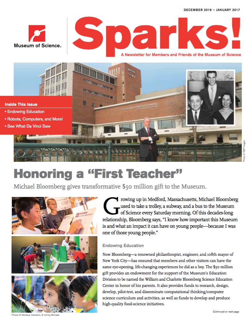 December/January Sparks magazine cover