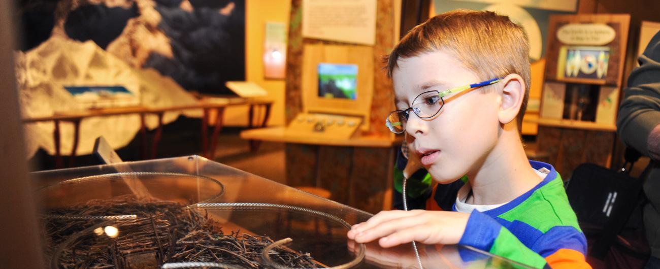Boy in Making Models exhibit