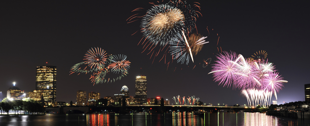 Picture of fireworks over Boston