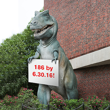 Dino holding 186 sign