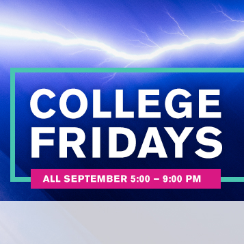College Fridays. All September. 5 pm to 9 pm.