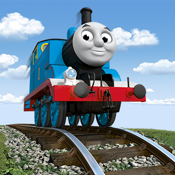 Thomas the Tank Engine on a set of tracks