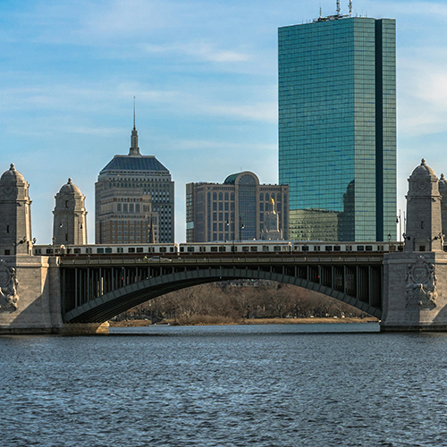 View of the Charles River, Longfellow Bridge, and Boston skyline