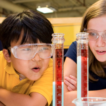 Picture of children doing chemistry activity