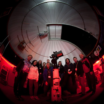 Museum of Science astronomers at observatory