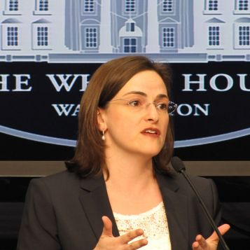 Christine Reich during the panel discussion of STEM for people with disabilities at the Eisenhower Executive Office Building.