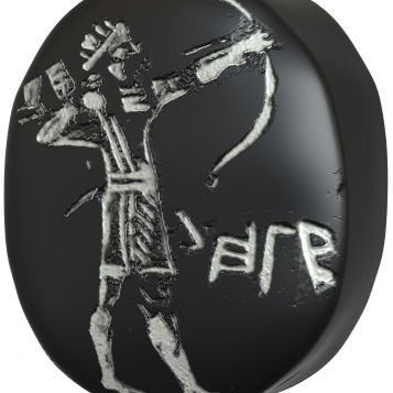 Stone Stamp Seal Bearing a Figure of an Archer