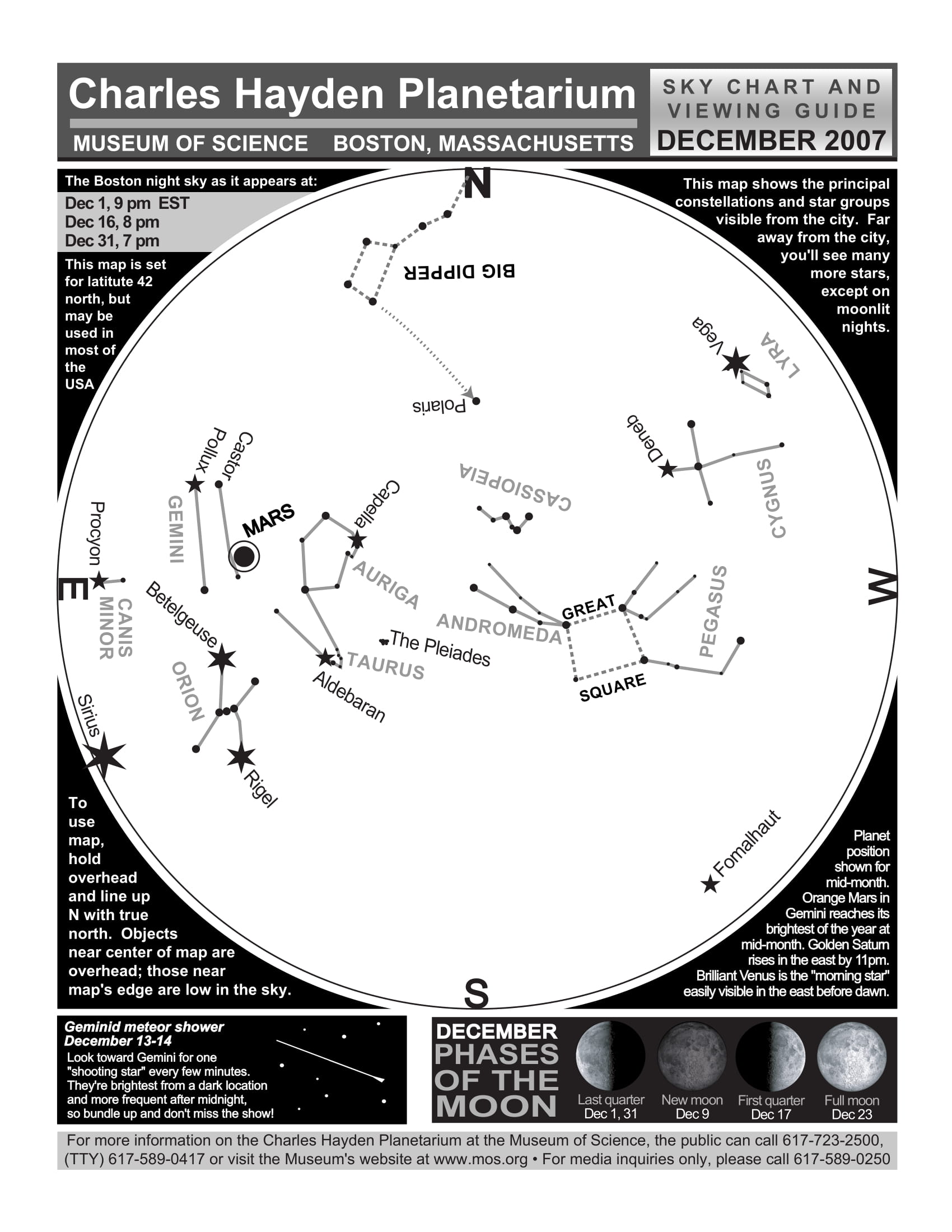 Charles Hayden Planetarium Sky Chart and viewing guide for December 2007.